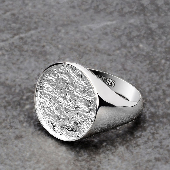 Basic Round Signet Male Ring Round Top Silver Men's Jewelry Gift