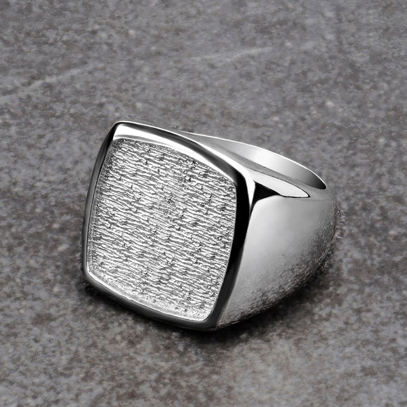 Men's Large Ring SOLID Sterling Silver Blank Signet Square Top Wide Male Band