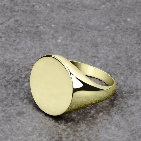Simple Signet Ring Gold Plated 925 Silver Round Plain Band for Men