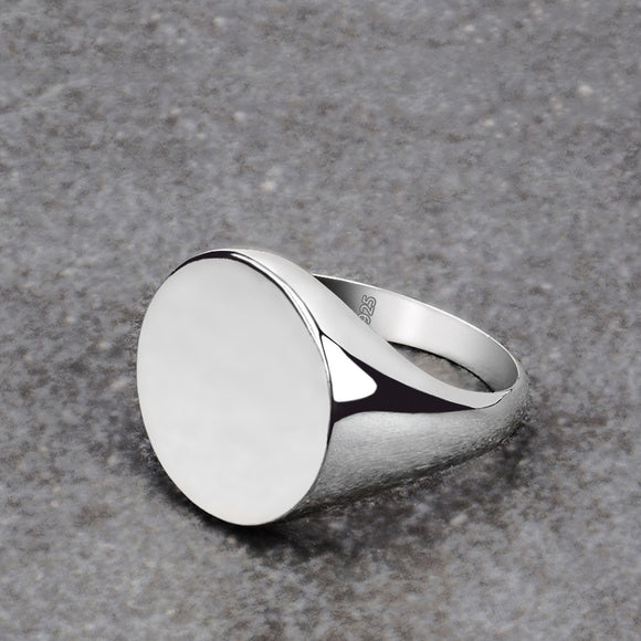 High Polished Men's Pinky Ring 925 Silver Simple Round Signet Ring