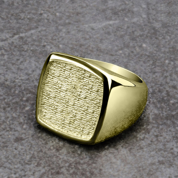 Male Signet Ring 18K Gold Plated Solid Silver Wide Band for Man