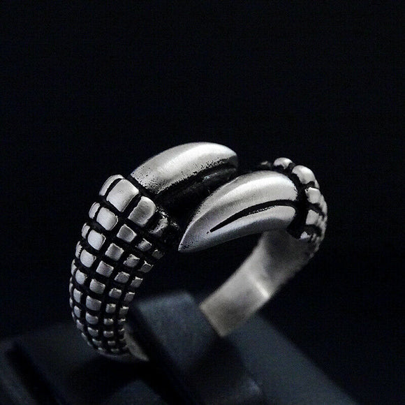 Mens Solid Sterling Silver Eagle Claw Heavy Ring