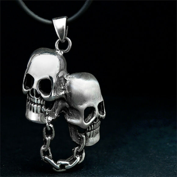 Men's Rocker Necklace Chunky Grunge 925 Sterling Silver Biker Skull Necklace