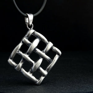 Men's Chunky Necklace Grunge Grid 925 Sterling Silver Steampunk Necklace
