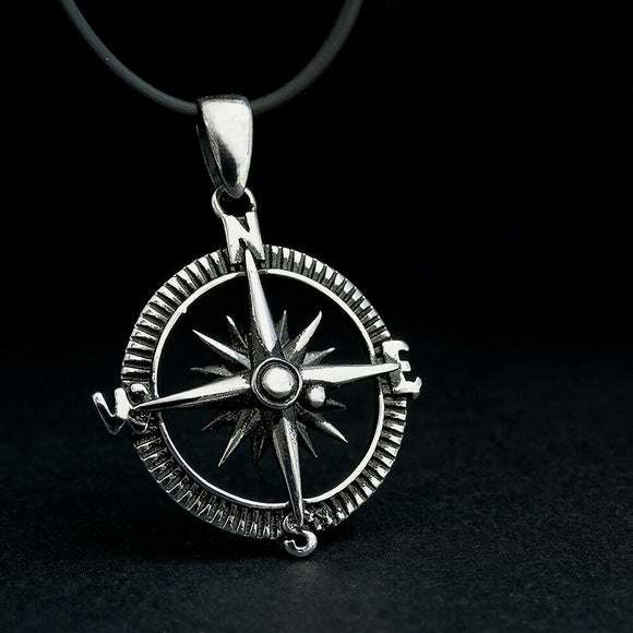 925 SILVER Compass Necklace for Men North Star Pendant Jewelry Graduation Gift