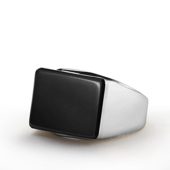 Real 10k Solid White Gold Natural Flat Black Onyx Stone Statement Ring for Men