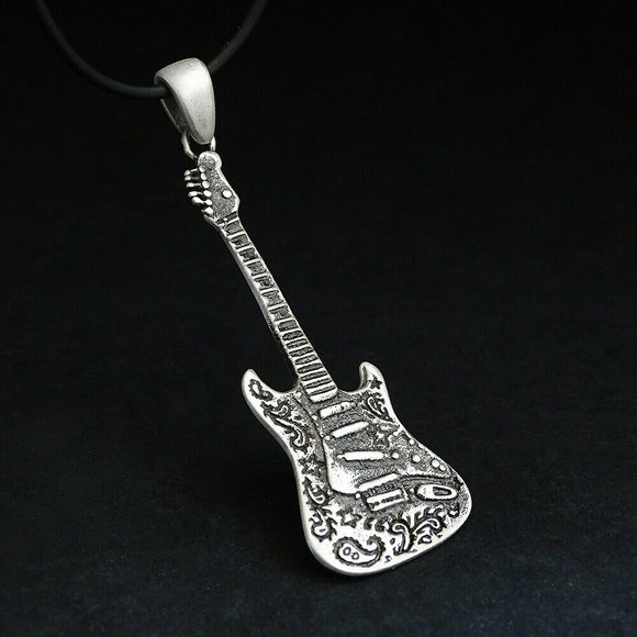 Sterling Silver Guitar Pendant Necklace, Music Jewelry Electric Guitar Gift