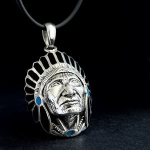 Native American Indian Style Chief Arrowhead Necklace for Man 925 Sterling Silver