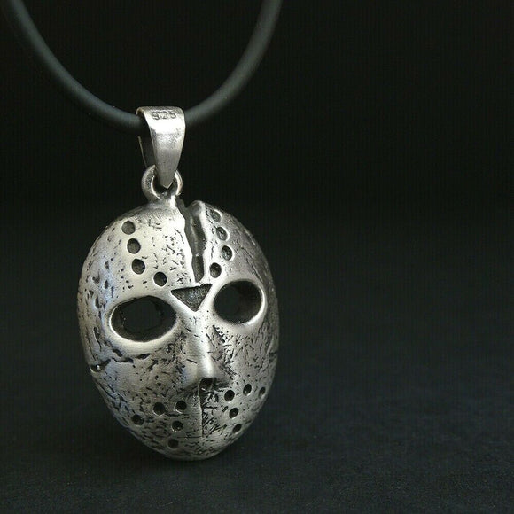 Jason Voorhees Mask Necklace S925 Silver Pendant Friday the 13th Horror Jewelry