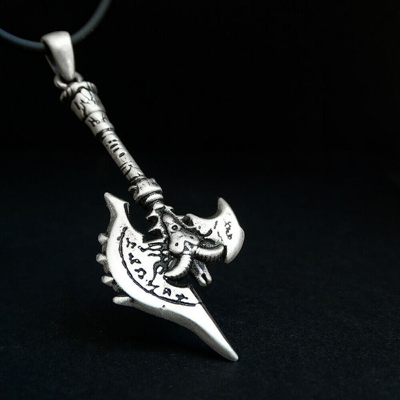 Silver Viking War Axe Necklace Scandinavian Warrior Men Battle Weapon Pendant