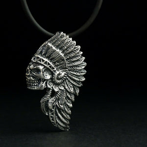 Tribal Indian Chief Skull Pendant SOLID 925 Silver Western Necklace for Man