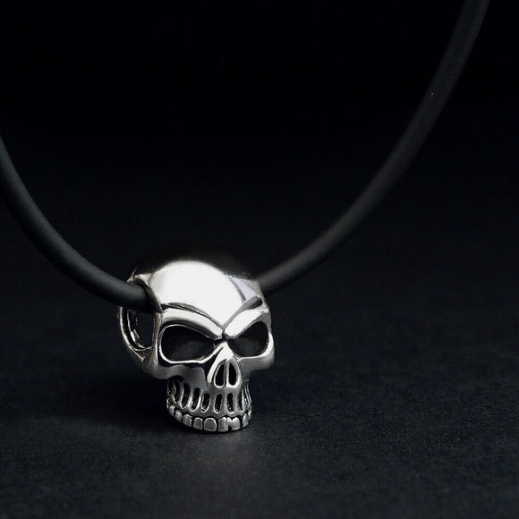 Skull Pendant Necklace for Men Sterling Silver Ghost Necklace Punk Fashion