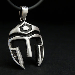 925 Silver Gladiator Mask Mens Spartan Necklace Thor Warrior Helmet Pendant