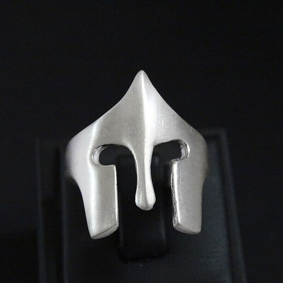 Gladiator Mask Mens Silver Ring Leonidas Warrior Helmet