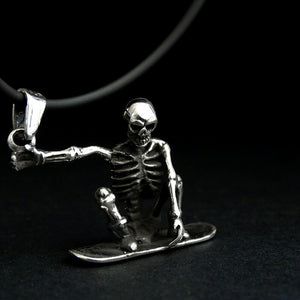 Skeleton Snowboard Rider Men's Jewelry Sterling Silver Pendant Necklace for Man