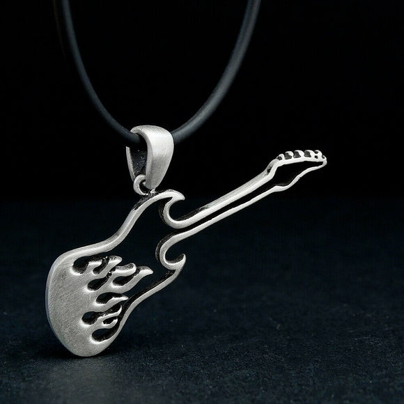 Bass Guitar Necklace for Men Music Lover Gift 925 Silver Rock Music Jewelry
