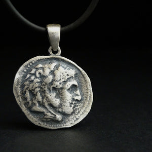 Alexander the Great Old Coin Necklace Two Face Replica Silver Coin Pendant
