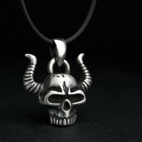 Horn Skull Pendant Sterling Silver Biker Jewelry Mens Minimalist Necklace Gothic