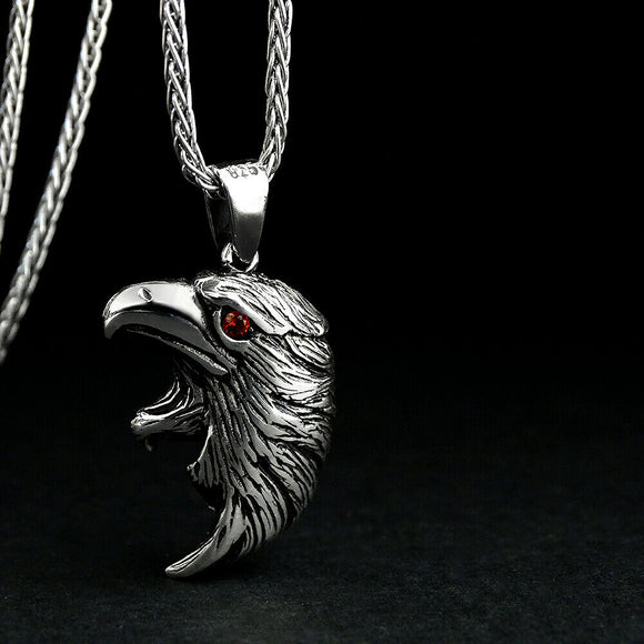 Men's Red Ruby Necklace 925 Sterling Silver Gryphon Head Pendant Father Day Gift