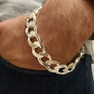 13mm Mens Real Solid 925 Sterling Silver Heavy Cuban Chain Link Bracelet 9 inch