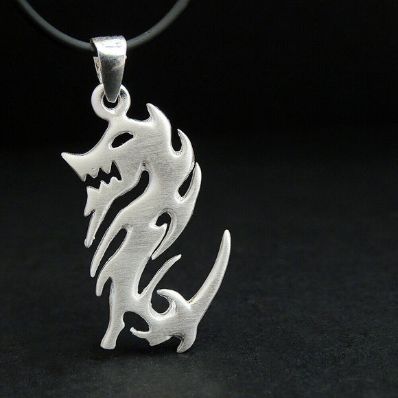 Dragon Pendant Mens Sterling Silver Mortal Combat Necklace Unisex Celtic Jewelry