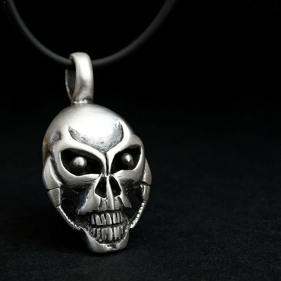 Raven Skull Necklace for Man SOLID 925 Silver Memento Mori Pendant Goth Jewelry