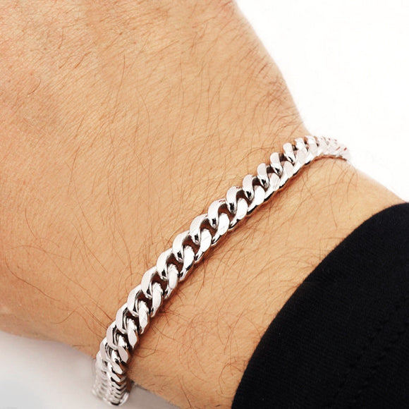 7mm Mens Real Solid 925 Sterling Silver Heavy Cuban Chain Link Bracelet 9 inch