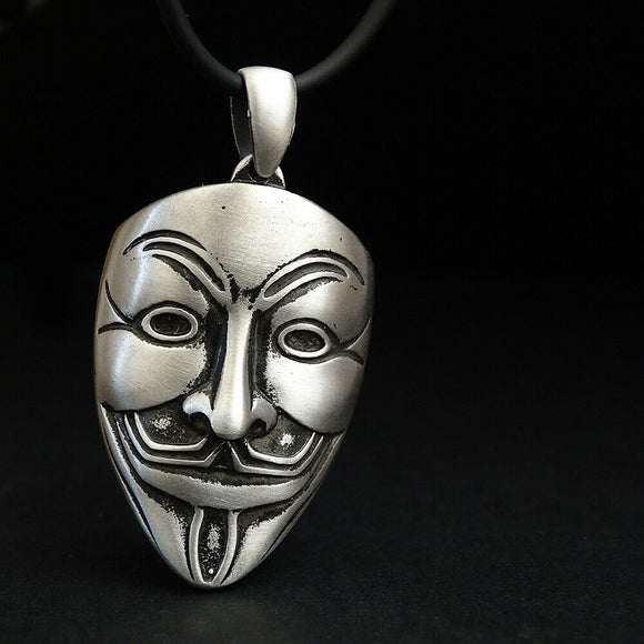 Vendetta Anonymous Mask HEAVY 15 gr Solid 925 Silver Chunky Necklace Man Gift