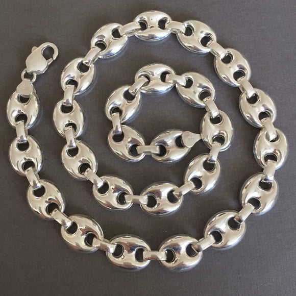 Mens Mariner Puffed Link Chain Necklaces 14mm 42GR 925 Silver Sterling 18 inch