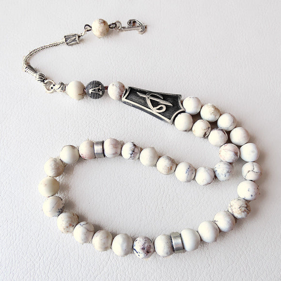925 SILVER 33 Prayer Beads White Howlite Stone Muslim Personalized Tasbih Tesbih