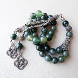 925 STERLING SILVER 33 Prayer Green Moss Agate Beads Muslim Tasbeeh Islamic