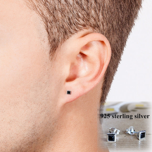 Men Stud Small Earrings Solid 925k Sterling Silver with Black CZ