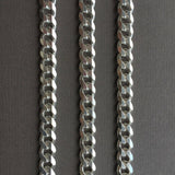 7mm Mens Curb Cuban Link Chain Necklace Pendant 925 Sterling Silver 56GR 28 Inch