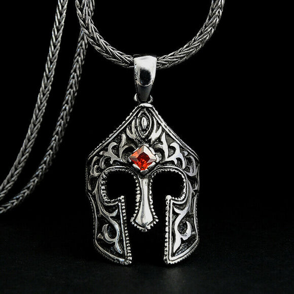 925 Silver Male Necklace Ancient Warrior Accessory Ruby Pendant Gladiator Mask