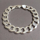 Mens Cuban Link Chain Bracelet 13mm 51GR 8.26 Inch SOLID 925 Sterling Silver