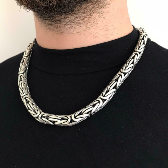 24 Inch Men Bali Viking Byzantine Chain Necklace 11mm 300GR 925 Silver Sterling