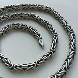 5mm Men Round Byzantine Necklace Chain 925 Sterling Silver 20 Inch 56GR