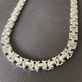 26 inch 11mm Mens Flat Byzantine Chain Necklace 925 Sterling Silver 126GR