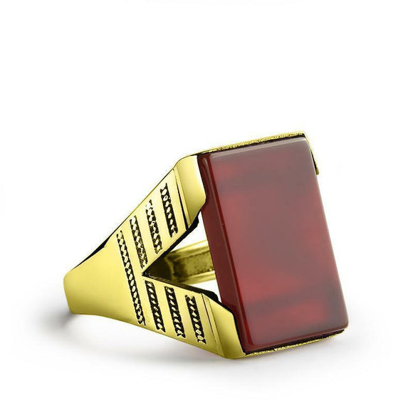 Modern Style Men Ring Real 10K Solid Yellow GOLD Natural Flat Red Agate Gemstone