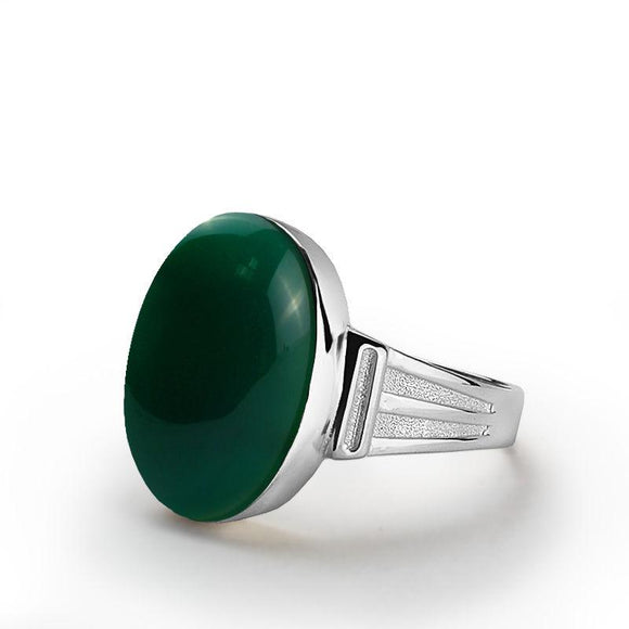 Handmade Ring for Men in Fine 10k White Gold with Genuine Green Agate Gemstone