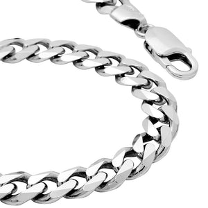 6mm Mens Real Solid 925 Sterling Silver Heavy Cuban Chain Link Bracelet 9 inch