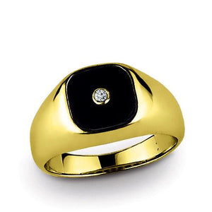 Black ONYX MEN'S RING with GENUINE DIAMOND Solid 10k Gold Classic Ring for Man