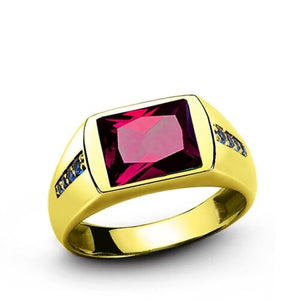 Men's Green Ruby Ring in REAL 14k Yellow Fine Solid Gold All Sizes Available