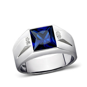 Men's Ring Real 925 Solid Sterling Silver Blue Sapphire 4 Diamond Accents