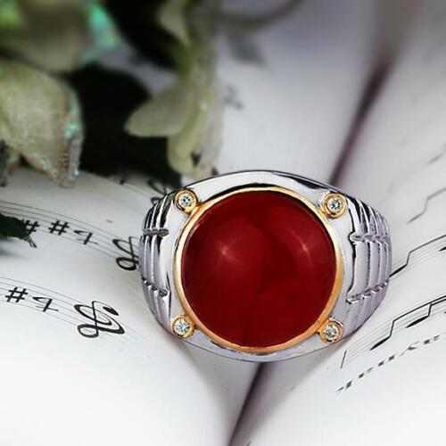 Sterling Silver Men's Ring with 4 NATURAL DIAMONDS and Red Agate Gemstone