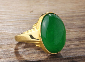 Jade Men's Ring in Solid 14K Fine GOLD with Natural Green Gemstone