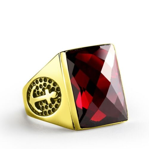 Men's Ring in Solid 14k Gold with Large Red Garnet Gemstone