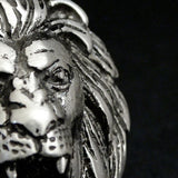 "Lion Head Necklace S925 Silver 25.5"" Wheat Link Chain Lion Zodiac Modern Jewelry"
