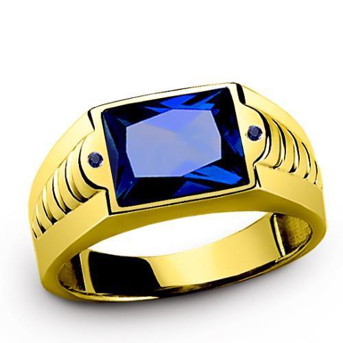 Yellow GOLD Ring for Men 14K Solid with Royal Blue Sapphire Gemstone