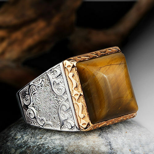 Vintage Style Solid Silver 925 Fine Ring for Men with TIGERS EYE Natural Stone